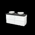 Badkamermeubel voor Waskom 140cm Mat Wit Greeploos Modulo+ Plato Carbon Blad Maxaro Modulo+ Plato BMK002664