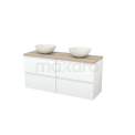 Badkamermeubel voor Waskom 140cm Mat Wit Greeploos Modulo+ Plato Eiken Blad Maxaro Modulo+ Plato BMK002665