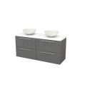 Badkamermeubel voor Waskom 140cm Basalt Vlak Modulo+ Plato Mat Wit Blad Maxaro Modulo+ Plato BMK002668