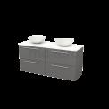 Badkamermeubel voor Waskom 140cm Basalt Vlak Modulo+ Plato Hoogglans Wit Blad Maxaro Modulo+ Plato BMK002669