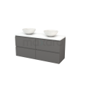 Badkamermeubel voor Waskom 140cm Basalt Greeploos Modulo+ Plato Hoogglans Wit Blad Maxaro Modulo+ Plato BMK002678