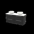 Badkamermeubel voor Waskom 140cm Carbon Vlak Modulo+ Plato Hoogglans Wit Blad Maxaro Modulo+ Plato BMK002681