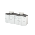 Badkamermeubel voor Waskom 160cm Hoogglans Wit Lamel Modulo+ Plato Basalt Blad Maxaro Modulo+ Plato BMK002717