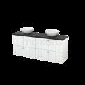 Badkamermeubel voor Waskom 160cm Hoogglans Wit Lamel Modulo+ Plato Carbon Blad Maxaro Modulo+ Plato BMK002718
