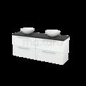 Badkamermeubel voor Waskom 160cm Hoogglans Wit Kader Modulo+ Plato Carbon Blad Maxaro Modulo+ Plato BMK002724