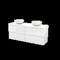 Badkamermeubel voor Waskom 160cm Modulo+ Plato Hoogglans Wit 4 Lades Greeploos Maxaro Modulo+ Plato BMK002728