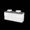 Badkamermeubel voor Waskom 160cm Hoogglans Wit Greeploos Modulo+ Plato Basalt Blad Maxaro Modulo+ Plato BMK002729
