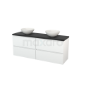 Badkamermeubel voor Waskom 160cm Hoogglans Wit Greeploos Modulo+ Plato Carbon Blad Maxaro Modulo+ Plato BMK002730