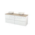 Badkamermeubel voor Waskom 160cm Hoogglans Wit Greeploos Modulo+ Plato Eiken Blad Maxaro Modulo+ Plato BMK002731