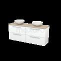 Badkamermeubel voor Waskom 160cm Mat Wit Vlak Modulo+ Plato Eiken Blad Maxaro Modulo+ Plato BMK002737