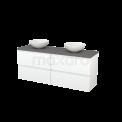 Badkamermeubel voor Waskom 160cm Mat Wit Greeploos Modulo+ Plato Basalt Blad Maxaro Modulo+ Plato BMK002753