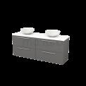 Badkamermeubel voor Waskom 160cm Basalt Vlak Modulo+ Plato Mat Wit Blad Maxaro Modulo+ Plato BMK002758