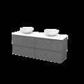 Badkamermeubel voor Waskom 160cm Basalt Greeploos Modulo+ Plato Mat Wit Blad Maxaro Modulo+ Plato BMK002767