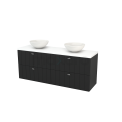 Badkamermeubel voor Waskom 160cm Carbon Lamel Modulo+ Plato Mat Wit Blad Maxaro Modulo+ Plato BMK002773