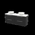Badkamermeubel voor Waskom 160cm Carbon Kader Modulo+ Plato Hoogglans Wit Blad Maxaro Modulo+ Plato BMK002777