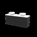 Badkamermeubel voor Waskom 160cm Carbon Greeploos Modulo+ Plato Hoogglans Wit Blad Maxaro Modulo+ Plato BMK002780