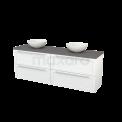 Badkamermeubel voor Waskom 180cm Hoogglans Wit Kader Modulo+ Plato Basalt Blad Maxaro Modulo+ Plato BMK002813