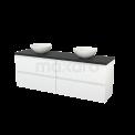 Badkamermeubel voor Waskom 180cm Hoogglans Wit Greeploos Modulo+ Plato Carbon Blad Maxaro Modulo+ Plato BMK002820