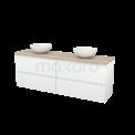 Badkamermeubel voor Waskom 180cm Hoogglans Wit Greeploos Modulo+ Plato Eiken Blad Maxaro Modulo+ Plato BMK002821