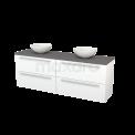 Badkamermeubel voor Waskom 180cm Mat Wit Vlak Modulo+ Plato Basalt Blad Maxaro Modulo+ Plato BMK002825