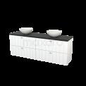 Badkamermeubel voor Waskom 180cm Mat Wit Lamel Modulo+ Plato Carbon Blad Maxaro Modulo+ Plato BMK002832