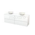 Badkamermeubel voor Waskom 180cm Modulo+ Plato Mat Wit 4 Lades Greeploos Maxaro Modulo+ Plato BMK002842