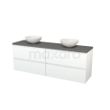 Badkamermeubel voor Waskom 180cm Mat Wit Greeploos Modulo+ Plato Basalt Blad Maxaro Modulo+ Plato BMK002843