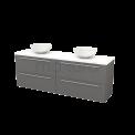 Badkamermeubel voor Waskom 180cm Basalt Vlak Modulo+ Plato Hoogglans Wit Blad Maxaro Modulo+ Plato BMK002849
