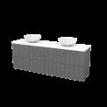 Badkamermeubel voor Waskom 180cm Basalt Lamel Modulo+ Plato Mat Wit Blad Maxaro Modulo+ Plato BMK002851