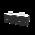 Badkamermeubel voor Waskom 180cm Carbon Vlak Modulo+ Plato Mat Wit Blad Maxaro Modulo+ Plato BMK002860