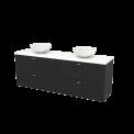 Badkamermeubel voor Waskom 180cm Carbon Lamel Modulo+ Plato Mat Wit Blad Maxaro Modulo+ Plato BMK002863