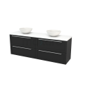 Badkamermeubel voor Waskom 180cm Carbon Kader Modulo+ Plato Mat Wit Blad Maxaro Modulo+ Plato BMK002866