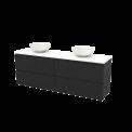 Badkamermeubel voor Waskom 180cm Carbon Greeploos Modulo+ Plato Hoogglans Wit Blad Maxaro Modulo+ Plato BMK002870