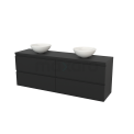 Badkamermeubel voor Waskom 180cm Modulo+ Plato Carbon 4 Lades Greeploos Maxaro Modulo+ Plato BMK002871
