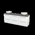 Badkamermeubel voor Waskom 180cm Hoogglans Wit Vlak Modulo+ Plato Basalt Blad Maxaro Modulo+ Plato BMK002891