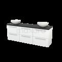 Badkamermeubel voor Waskom 180cm Hoogglans Wit Vlak Modulo+ Plato Carbon Blad Maxaro Modulo+ Plato BMK002892