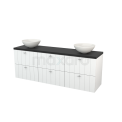 Badkamermeubel voor Waskom 180cm Hoogglans Wit Lamel Modulo+ Plato Carbon Blad Maxaro Modulo+ Plato BMK002898