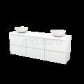 Badkamermeubel voor Waskom 180cm Modulo+ Plato Hoogglans Wit 6 Lades Greeploos Maxaro Modulo+ Plato BMK002908
