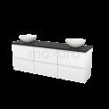 Badkamermeubel voor Waskom 180cm Hoogglans Wit Greeploos Modulo+ Plato Carbon Blad Maxaro Modulo+ Plato BMK002910