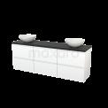 Badkamermeubel voor Waskom 180cm Mat Wit Greeploos Modulo+ Plato Carbon Blad Maxaro Modulo+ Plato BMK002934