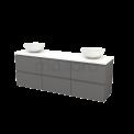 Badkamermeubel voor Waskom 180cm Basalt Greeploos Modulo+ Plato Hoogglans Wit Blad Maxaro Modulo+ Plato BMK002948