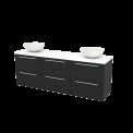 Badkamermeubel voor Waskom 180cm Carbon Vlak Modulo+ Plato Mat Wit Blad Maxaro Modulo+ Plato BMK002950