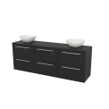 Badkamermeubel voor Waskom 180cm Modulo+ Plato Carbon 6 Lades Vlak Maxaro Modulo+ Plato BMK002952