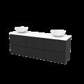 Badkamermeubel voor Waskom 180cm Carbon Greeploos Modulo+ Plato Mat Wit Blad Maxaro Modulo+ Plato BMK002959