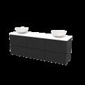 Badkamermeubel voor Waskom 180cm Carbon Greeploos Modulo+ Plato Hoogglans Wit Blad Maxaro Modulo+ Plato BMK002960