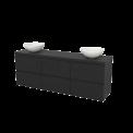 Badkamermeubel voor Waskom 180cm Modulo+ Plato Carbon 6 Lades Greeploos Maxaro Modulo+ Plato BMK002961