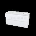 Badkamermeubel 120cm Modulo+ Mat Wit 2 Lades Greeploos Wastafel Keramiek Maxaro Modulo+ BMP000621