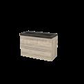 Badkamermeubel 100cm Modulo+ Eiken 2 Lades Vlak Wastafel Natuursteen Blue Stone Maxaro Modulo+ BMP003250