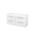 Badkamermeubel 140cm Modulo+ Hoogglans Wit 4 Lades Vlak Wastafel Mineraalmarmer Maxaro Modulo+ BMP004106