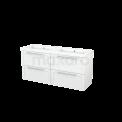 Badkamermeubel 140cm Modulo+ Hoogglans Wit 4 Lades Kader Wastafel Mineraalmarmer Maxaro Modulo+ BMP004117